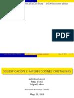 Solidificación e Imperfecciones Cristalinas