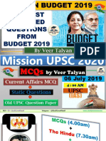 Budget 2019 Questions