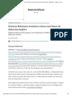 Governo Bolsonaro Monitora Crimes Com Banco de Dados Incompleto - 06-07-2019 - Cotidiano - Folha