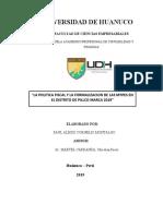 POLÍTICA FISCAL Y FORMALIZACIÓN DE LA MYPES EN EL DISTRITO DE PILLCO MARCA 2019