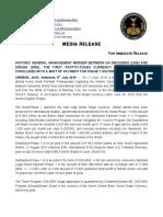 8-7-2019 PRESS RELEASE - HISTORIC GENERAL MANAGEMENT MERGER BETWEEN UN SWISSINDO (UNS) AND DIRUNA (DRA)