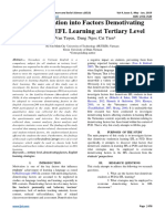 An Investigation into Factors Demotivating Students in EFL Learning at Tertiary Level