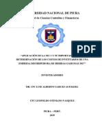 APLICACIÓN DE LA NIC 2 Y SU IMPORTANCIA EN LA DETERMINACIÓN DE LOS COSTOS DE INVENTARIOS DE UNA EMPRESA DISTRIBUIDORA DE BEBIDAS GASEOSAS 2017