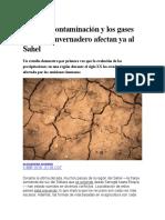 La contaminación y los gases de efecto invernadero en Sahel