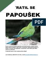 Leták - ztratil se papoušek