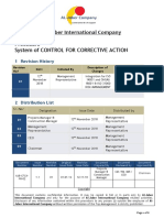 Procedure System of Control for Corrective Action