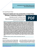 Seasonal rainfall and crop productivity in South West Ethiopia