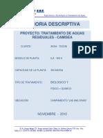 Memoria Descriptiva de La Planta de Tratamiento de Aguas Residuales - Oficial