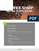 SUJ Coffee Shop Equipment List