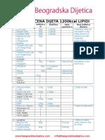 Dijeta 1200 Kcal Lipidi