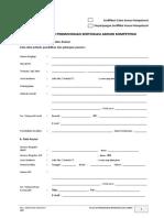 01.FR-ACA-01.2019 Permohonan Sertifikasi Asesor Kompetensi