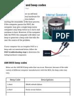 Computer POST and Beep Codes