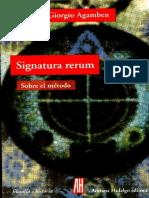Agamben Signaturum Rerum