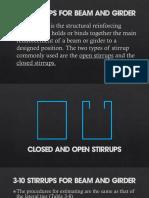 Stirrups for beam girder