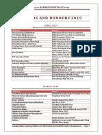 Awards Honours 2019