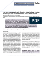 The Role of Cooperatives in Marketing of Agricultural Produce in Ushongo Local Government Area, Benue State, Nigeria