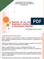 Nutrición de Los Microorganismos. Substratos y Medios de Cultivo Para La Fermentación Industrial.