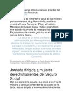 Salud de las mujeres portomorelenses, prioridad del gobierno de Laura Fernández