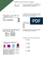 Avaliação de Matemática 6 Ano 2 Prova