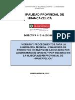 DIRECTIVA DE LIQUIDACION DE OBRA POR ADMINISTRACION DIRECTA
