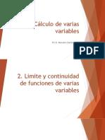 Límite y continuidad de funciones de varias variables