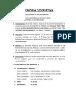 Memoria Descriptiva Sub Division Pacheco Mayanga
