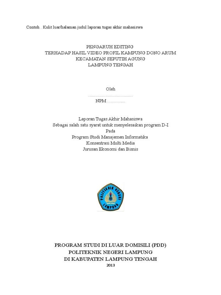 Contoh Laporan Tugas Akhir Manajemen Informatika Kumpulan Contoh Laporan