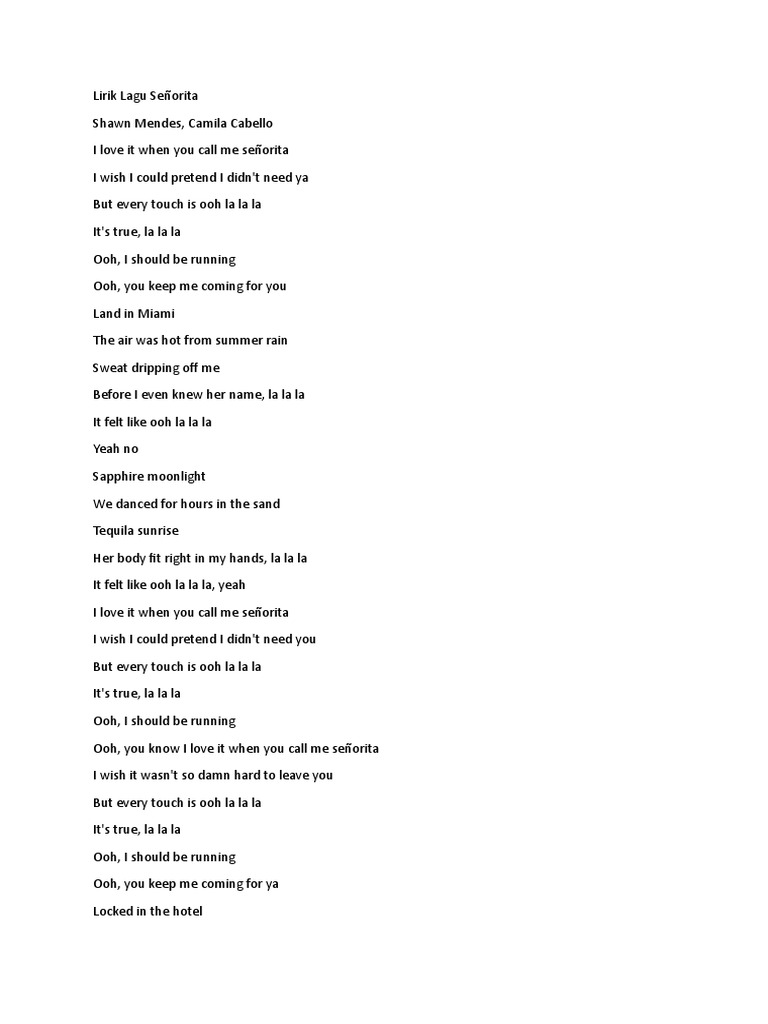 Lirik Lagu Senorita