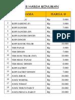 Tabel HArga