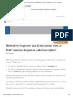 Reliability Engineer Job Description Versus Maintenance Engi - Reliabilityweb_ a Culture of Reliability