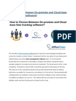 How to Opt Between on-premise and Cloud Base Time Tracking Software