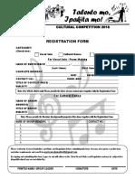 Registration Form (Cultural Competition 2018)