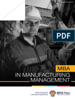BITS Pilani - MBA in MAnufacturing Managment