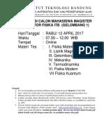 Soal Tes Masuk Program Magister Fisika