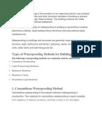 Types of Waterproofing Methods for Buildings