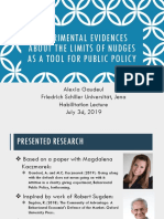 Experimental evidences about the limits of nudges as a tool for public policy