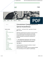 Uncommon Complications of Spinal Anaesthesia – Anesthesiaworld