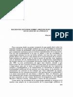 Recientes Estudios Sobre Arqueologia Andalusi en El Sur
