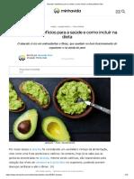 Abacate - Benefícios Para a Saúde e Como Incluir Na Dieta