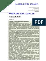 Noticias Del Lunes 15.04.2019