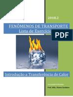 Fenómenos de transporte  Lista de exercícios