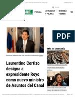 Laurentino Cortizo Designa a Expresidente Royo Como Nuevo Ministro de Asuntos Del Canal - Metro Libre