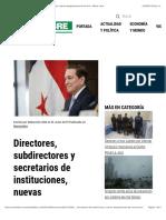 Directores, Subdirectores y Secretarios de Instituciones, Nuevas Designaciones de Cortizo - Metro Libre