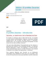 Estudio Bíblico El Profeta Zacarías Introducción