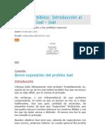 Estudio Bíblico Introducción Al Profeta Joel Joel