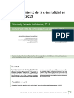 comportamiento criminalidad en Colombia(2013)