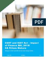 CGST and IGST Act – Impact of Finance Bill, 2019 - CA Pritam Mahure