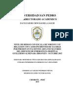 TESIS - Nivel de riesgo con escala de Norton y su relación con casos incidentes de ulceras por presión en pacientes adultos mayores del servicio de emergencia Hospital Guillermo Almenara Irigoyen - octubre 2015