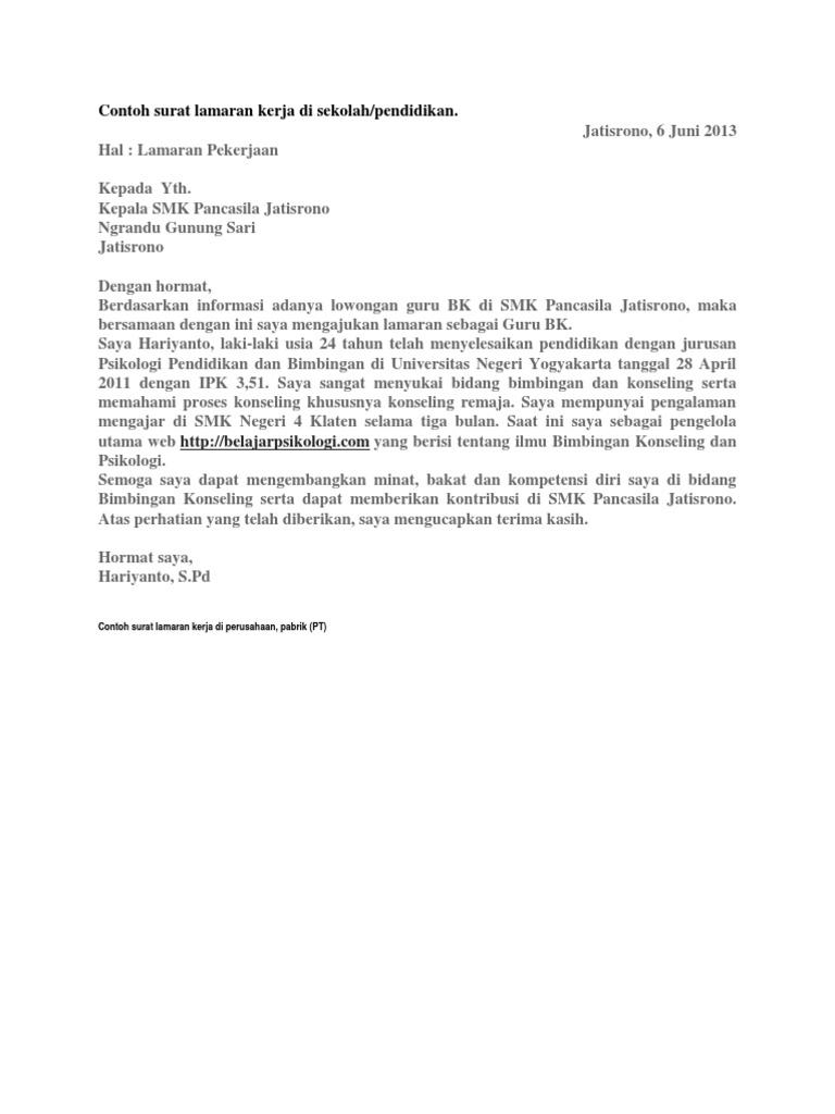 Contoh Surat Lamaran Kerja Di Perusahaan Pabrik Pt