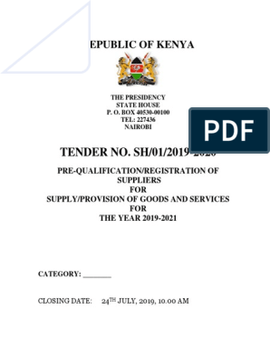 TENDER NO: SH/01/2019-2020 FOR PRE-QUALIFICATION